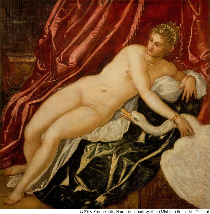ヤコポ・ティントレット《レダと白鳥》(1551-55年頃、フィレンツェ・フィツィ美術館蔵)