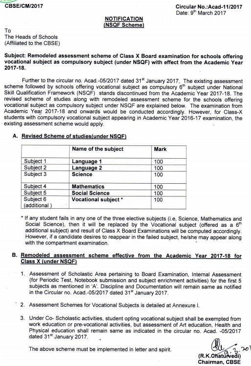 CBSE Official Notification regarding Vocational Courses