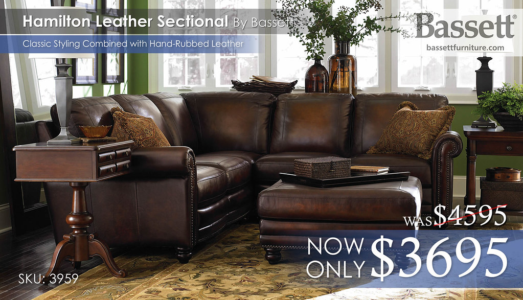 3959-Hamilton Bassett Leather Sectional Reg $4595 now $3695 : bassett alex sectional - Sectionals, Sofas & Couches