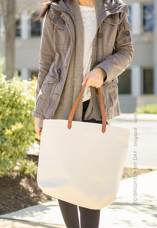 gray military jacket, taupe open cardigan, gray top with lace, Madewell Transport canvas tote, black leggings