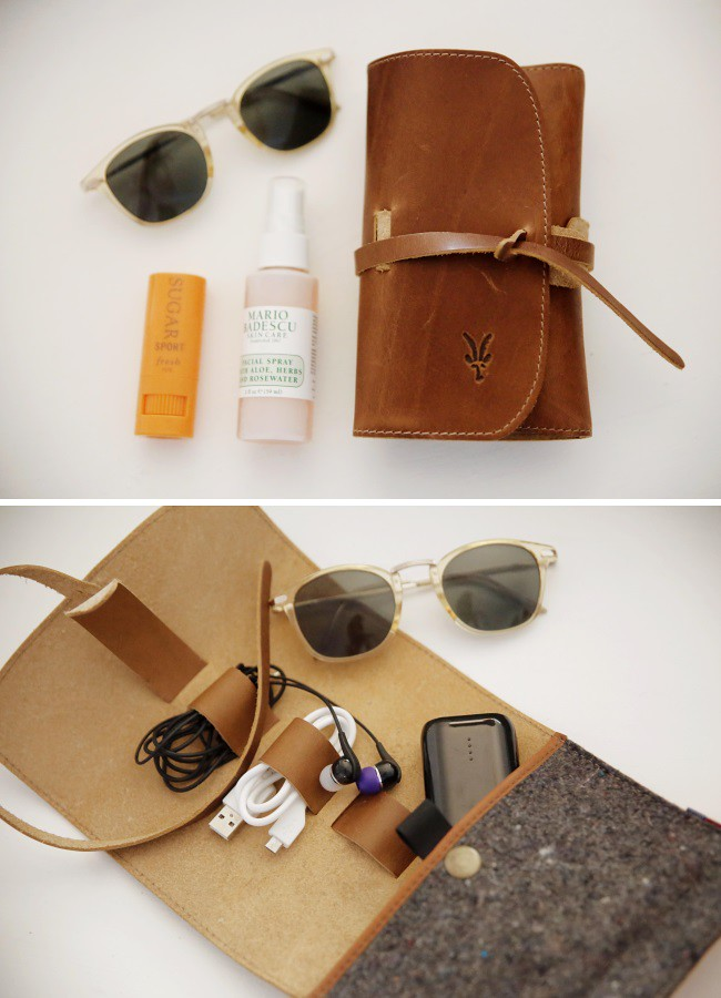 Ibex leather and wool travel organizer is a carry-on essential for travel