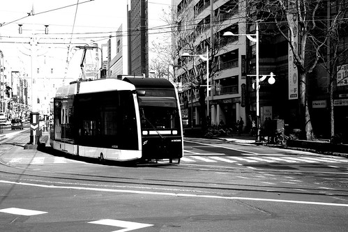 Tramcars in Susukino area, Sapporo on APR 16, 2017 (5)