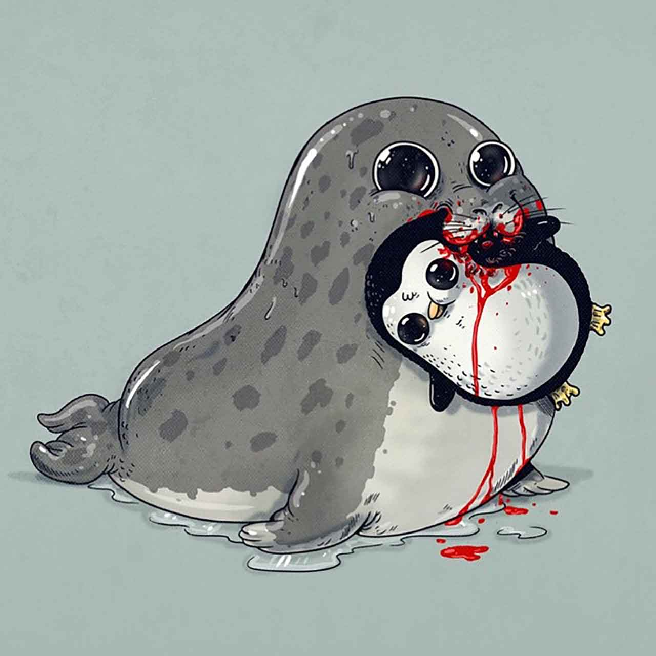 "Artist Creates Extremely Adorable ""Predator & Prey"" Illustrations #26: Leopard Seal & Penguin"