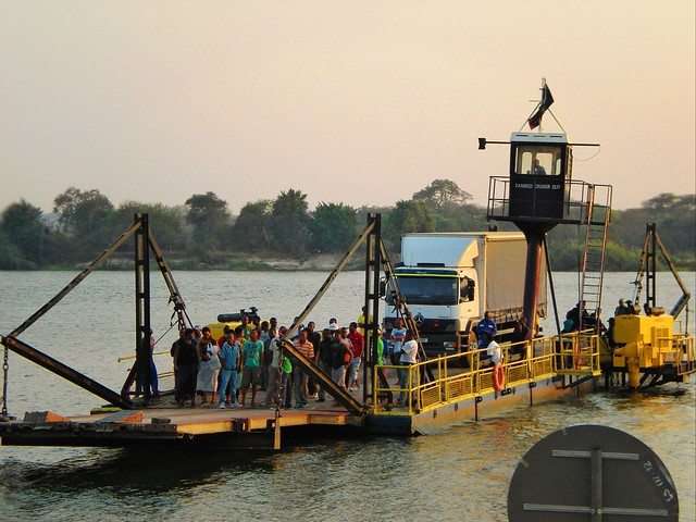 Kazungula Ferry unites four corners the only place in the world where four countries meet Namibia, Zambia, Botswana and Zimbabwe of Africa.