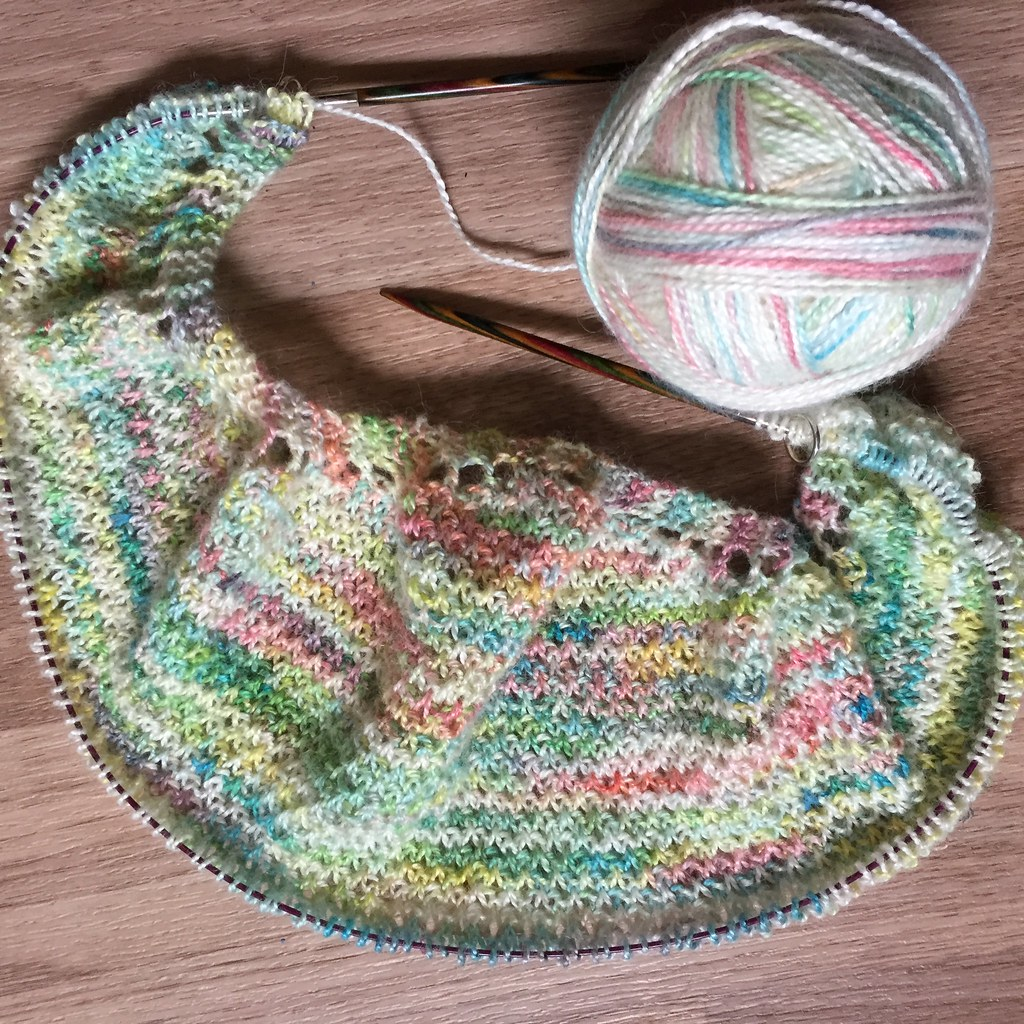 second imagining of the textured shawl, with extra colour, but without knitting errors