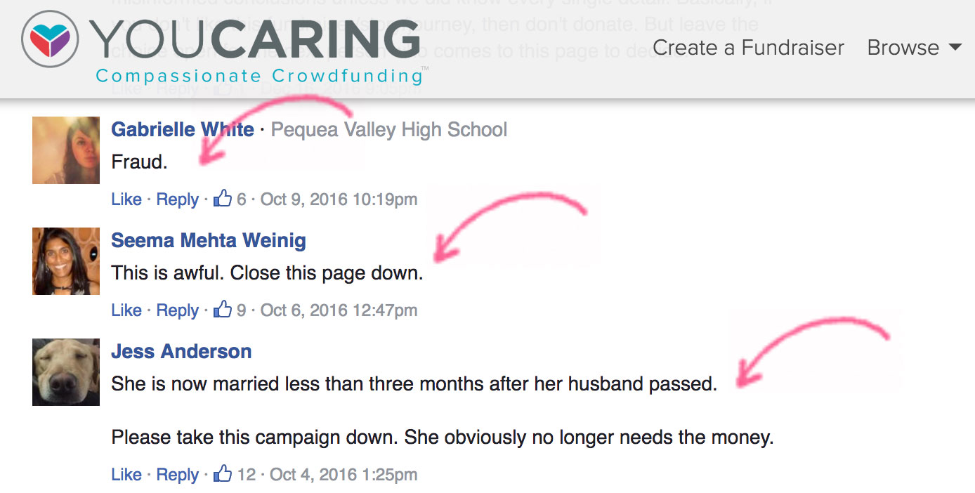 Donors alleging fraud on Emily Meyers YouCaring donation page