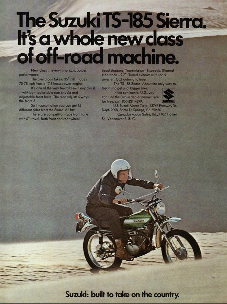 1971 Suzuki TS-185 Sierra Ad | Tony Blazier | Flickr