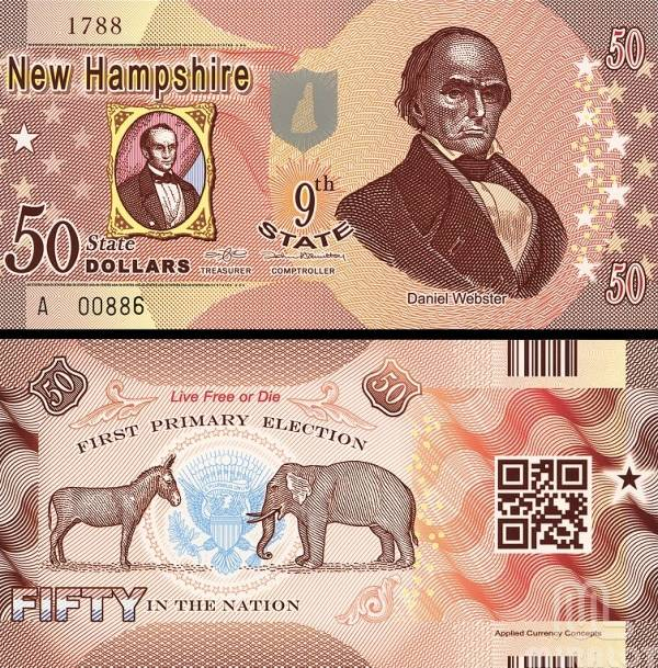 USA 50 Dollars 2014 9. štát - New Hampshire, polymer