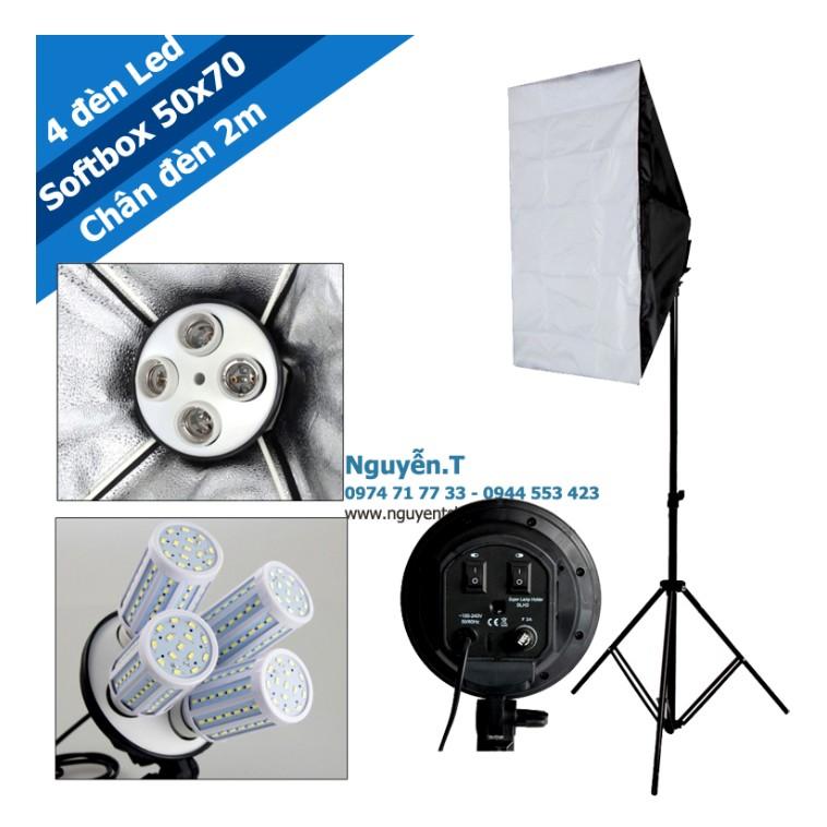 Bộ 1 Softbox đuôi sứ 4 chuôi 50x70cm - 4 bóng đèn led 360 độ 28W và 1 chân đèn cao 2m