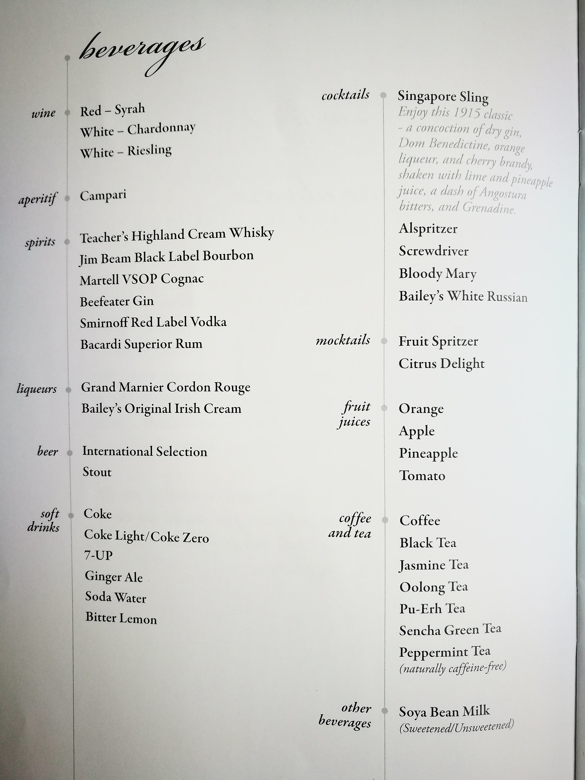 Beverage list