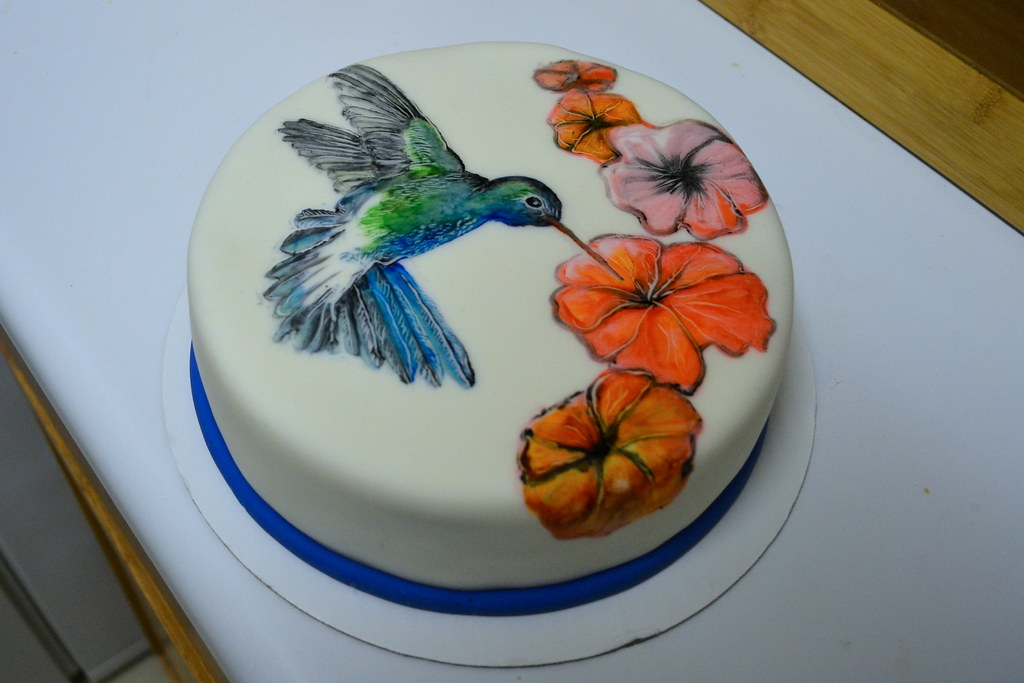 Hummingbird Painted Cake Cake By Me Paint By Joshua Gomez Flickr