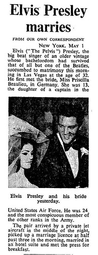 1st May 1967 - Elvis Presley Marries Priscilla Beaulieu | by Bradford Timeline