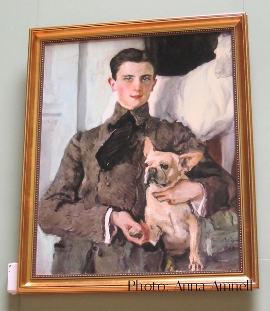 Prince Yousupov with his pet dog