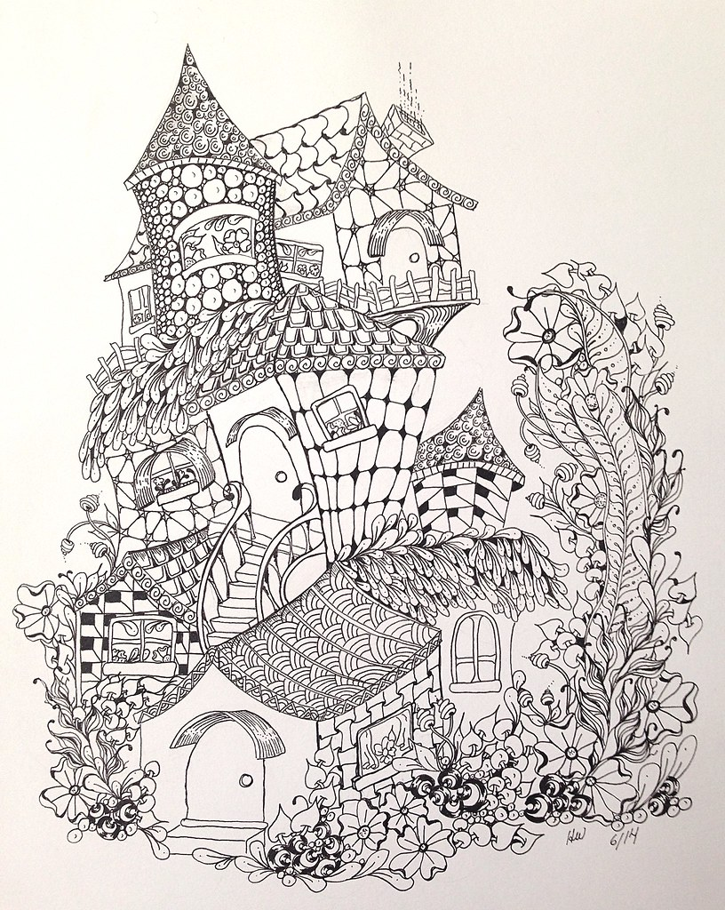 fairy house coloring pages - zentangle inspired fairy houses holly flickr