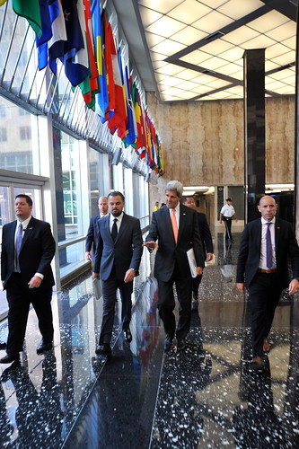 Secretary Kerry Walks With Leonardo DiCaprio in the C Street Lobby of the State Department | by U.S. Department of State