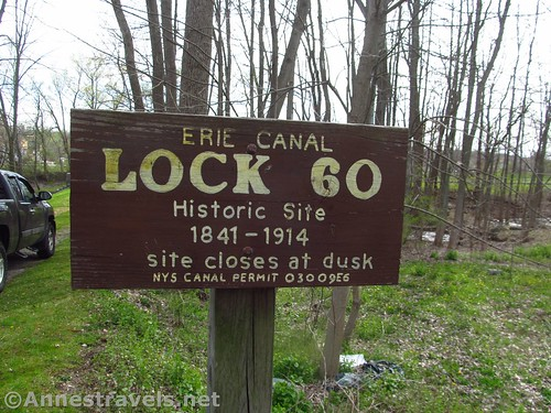 The sign indicating the Lock 60 Historic Park near Macedon and Palmyra, New York
