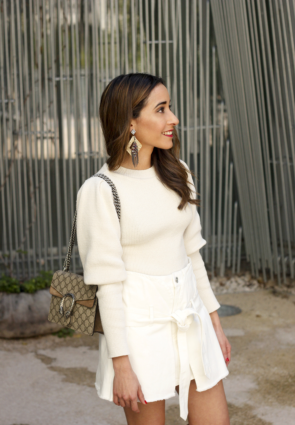 White skirt white sweater blue light mules uterqüe gucci bag céline sunnies spring outfit style outfit07