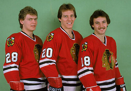 Larmer, Secord, Savard Blackhawks