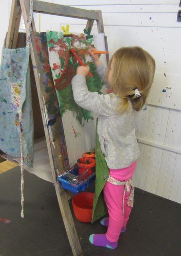 two handed painting