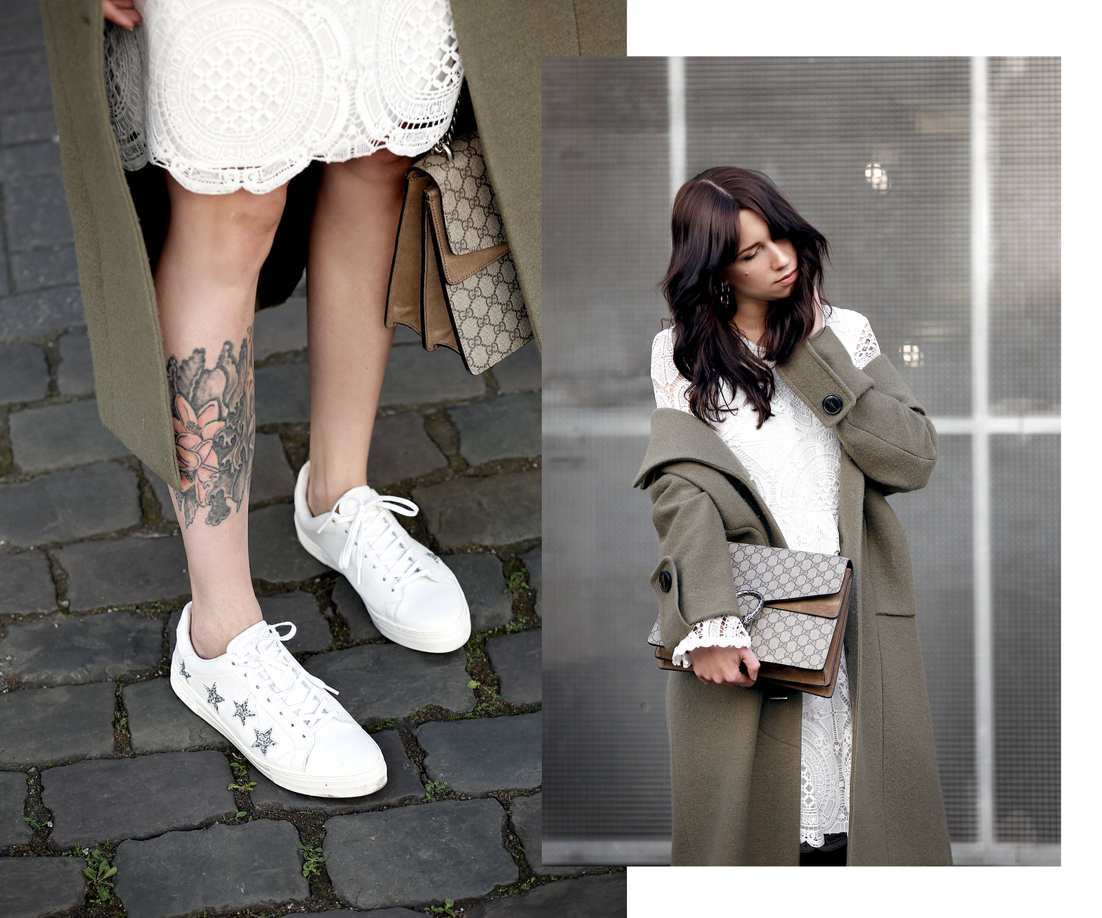 about you coat khaki wool white lace dress vila sneakers sacha gucci dionysus bag mvmt watch gold ootd styling lookbook cats & dogs modeblog ricarda schernus fashionblogger berlin düsseldorf 1