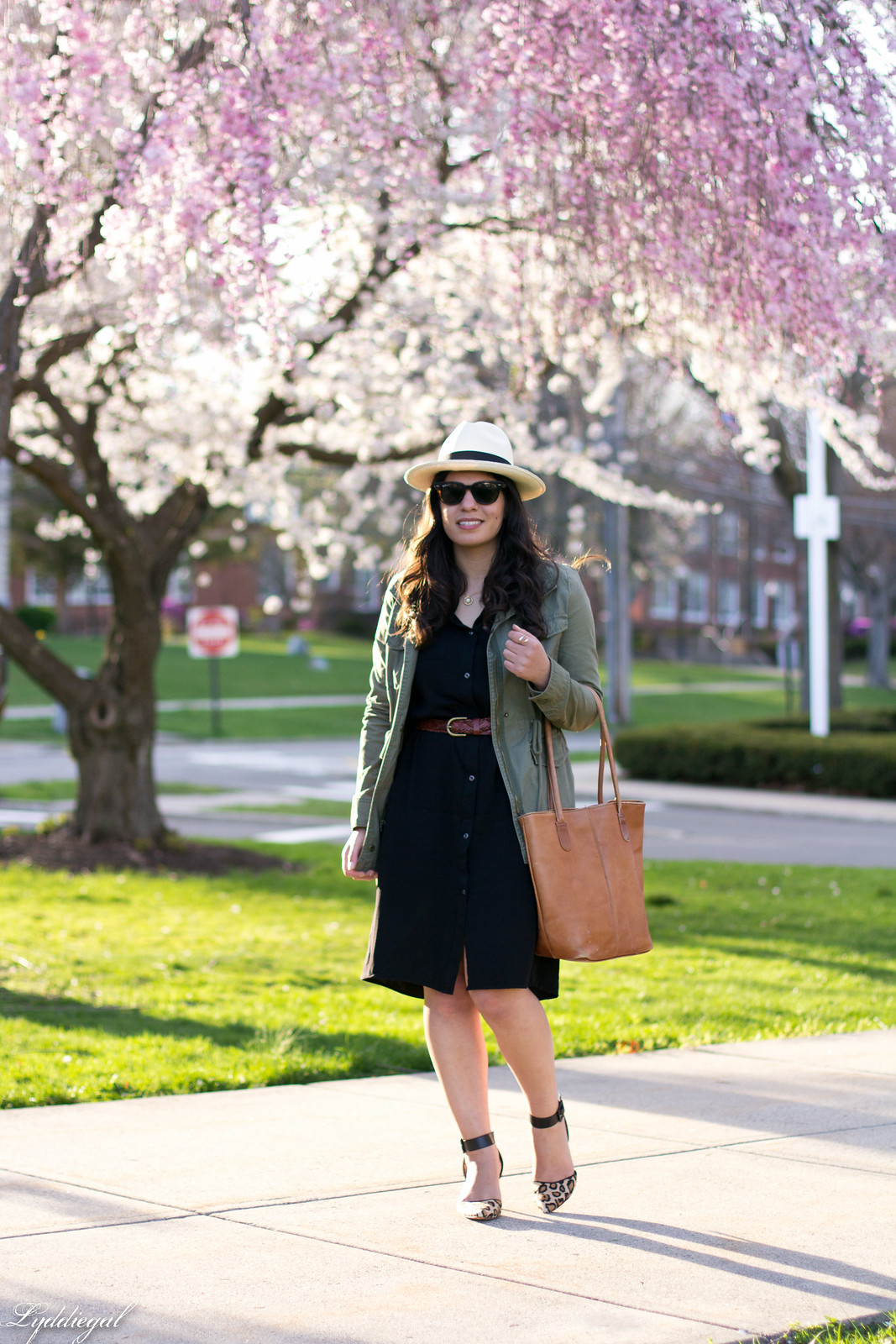 black shirt dress, field jacket, panama hat, leopard pumps-2.jpg