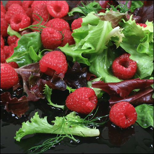 raspberries and salad greens.. | by m.midnight