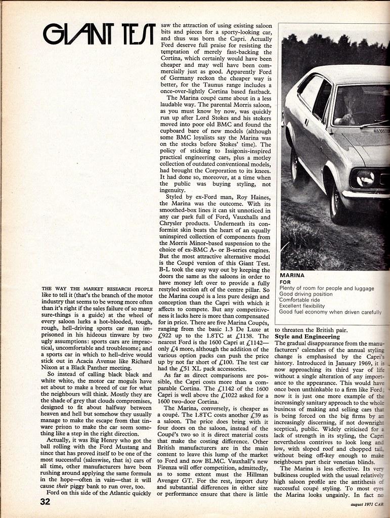 Ford Capri 1600 Xl Amp Morris Marina 1800 Tc Coupe Twin Road
