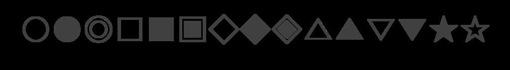 동그라미, 사각형, 삼각형, 별표 등의 쉽게 구별이 가능한 기호 이미지