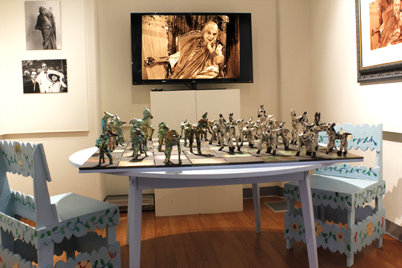 Museum installation with Blue Table