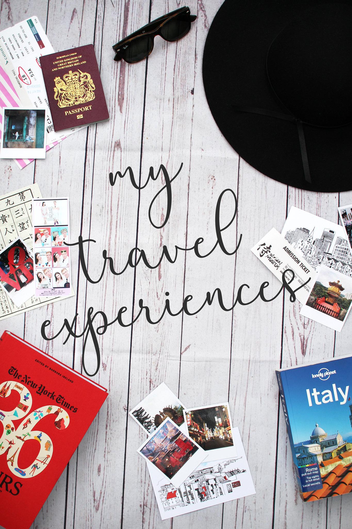 Travel experience blogger UK flat lay