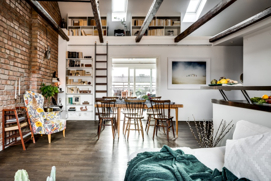 Scandinavian Attic Apartment With a Brick Wall