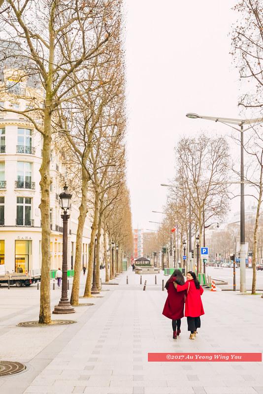 Paris 2017: Walking Along A Street In Winter