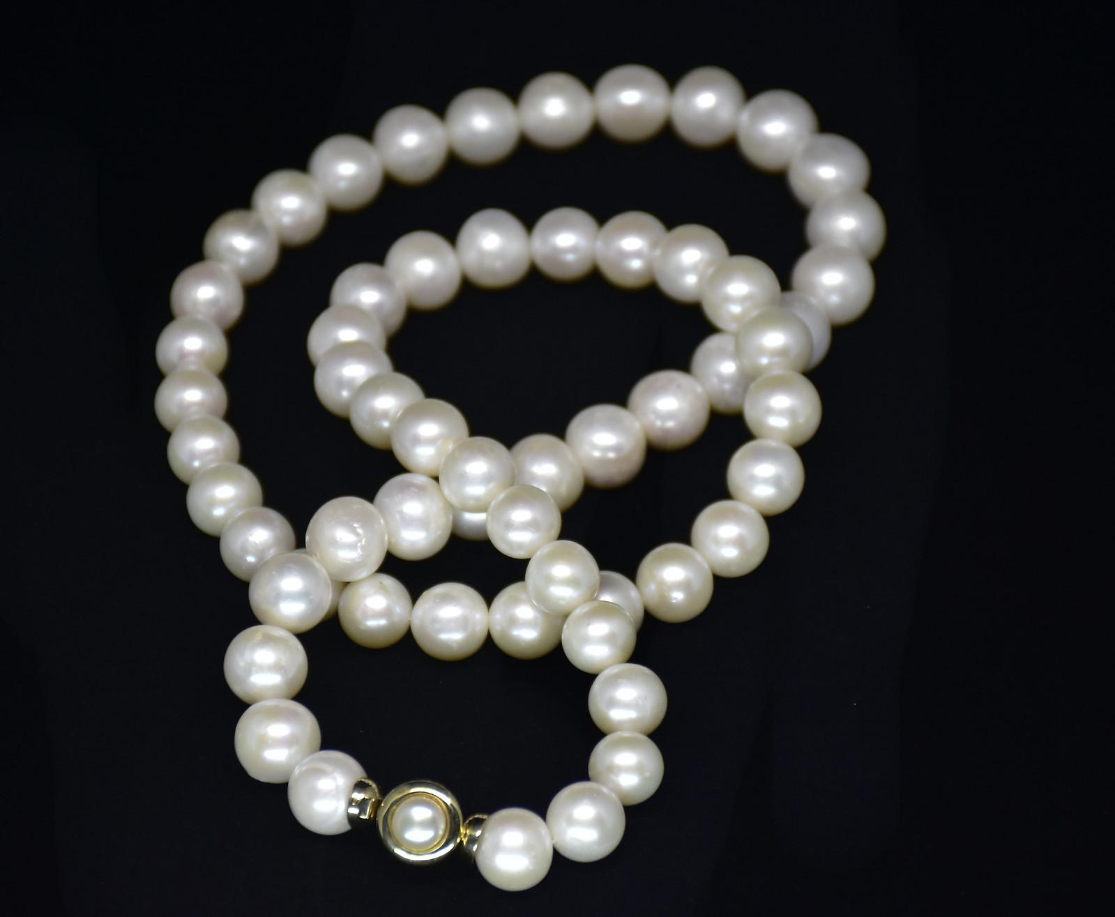 - Ahsen 14K Altın Klipsli Doğal Beyaz İnci Kolye-AH-00006