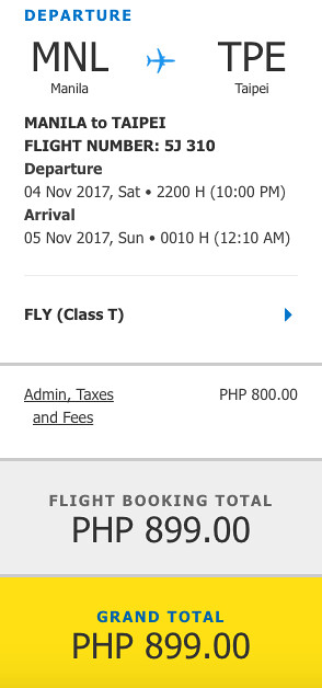 Manila to Taipei Cebu Pacific Promo November 4, 2017