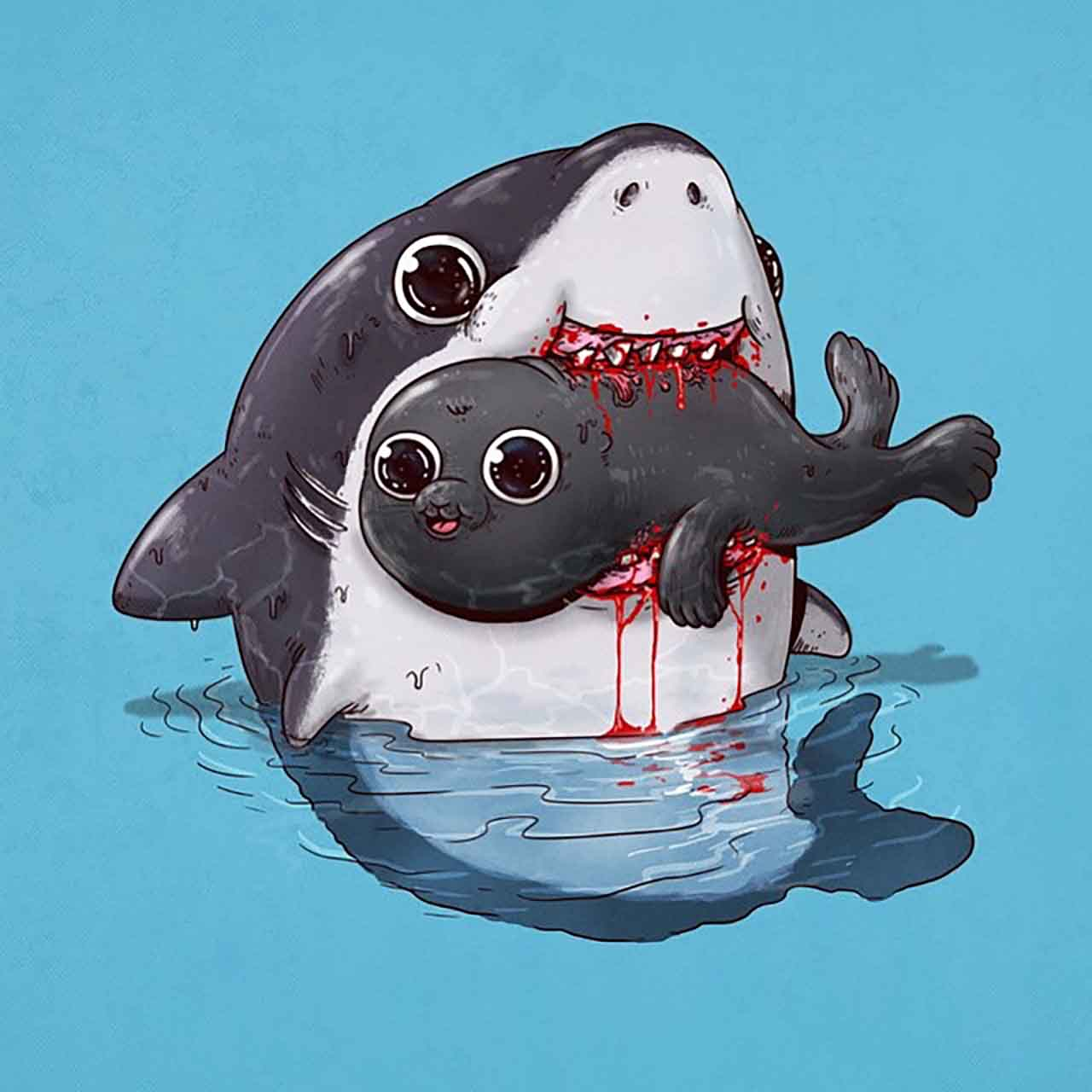 "Artist Creates Extremely Adorable ""Predator & Prey"" Illustrations #27: Shark & Seal"