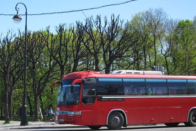 a red bus in Saint Petersburg