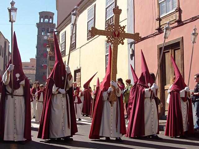 Hooded brotherhood, Iglesia de la Concepcion, Semana Santa, La Laguna, Tenerife