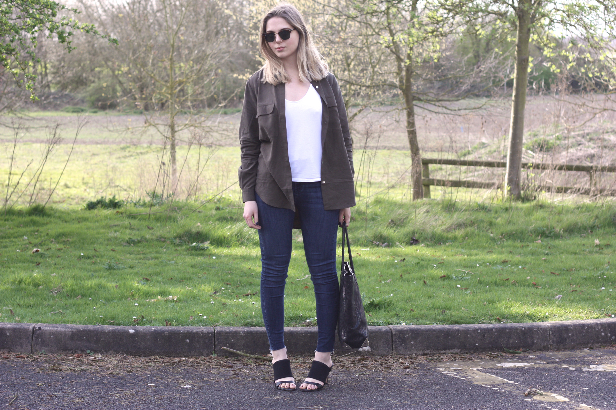 Great Plains khaki tencel shirt, Topshop Jamie raw hem jeans and Reiss neoprene mules