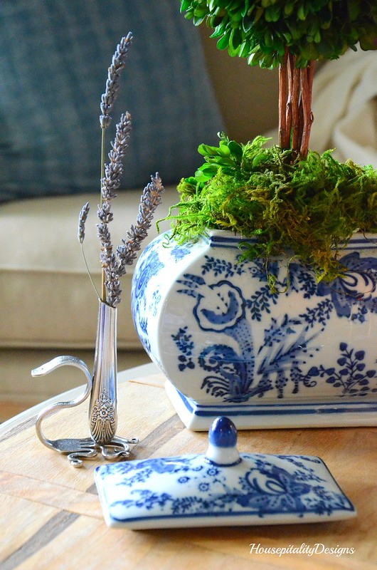 Blue and White-Boxwood Topiary-Silver Vase-Housepitality Designs