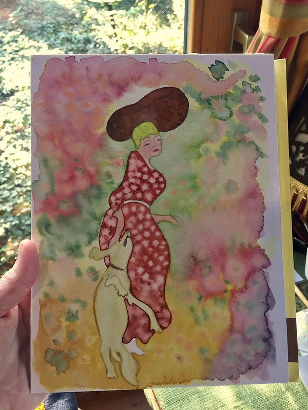 watercolor based on Bonnard, dog and lady, aquarel, water colour