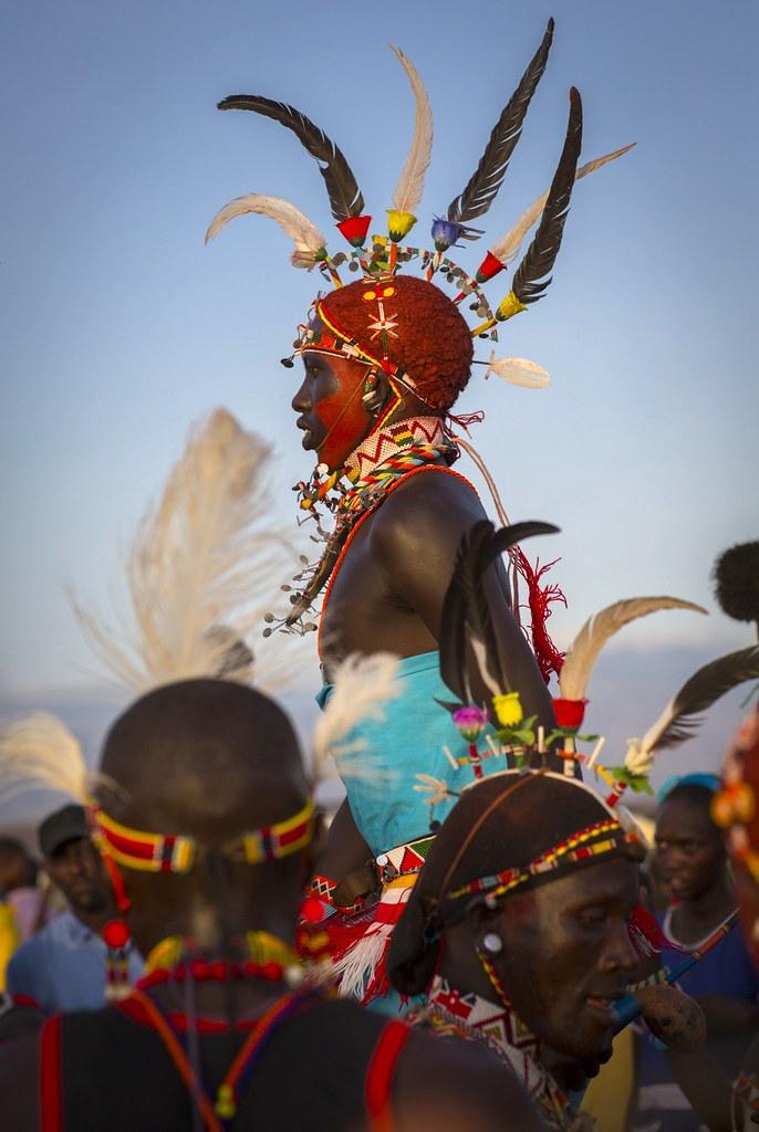 rendille tribesman jumping  turkana lake  loiyangalani  ke