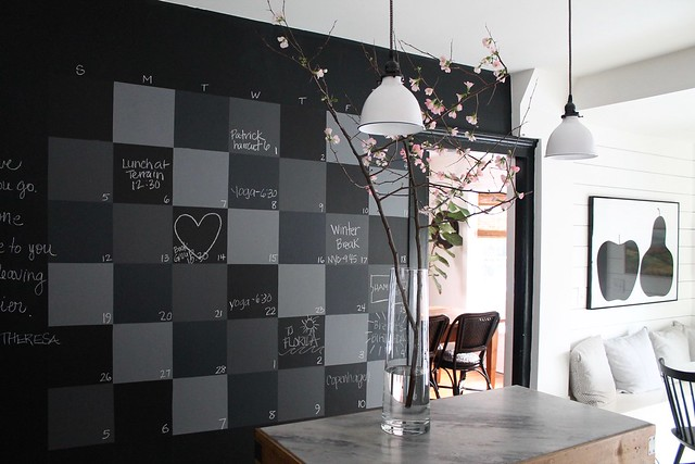DIY Checkerboard Chalkboard Wal