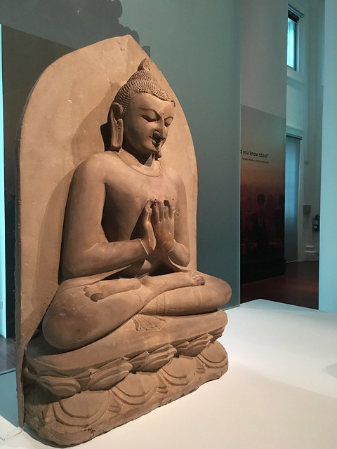Buddha seated in dharma chakra mudra (teaching gesture). Bagan 11th century. Cities & Kings - Myanmar, Asian Civilisations Museum, Empress Place, Singapore