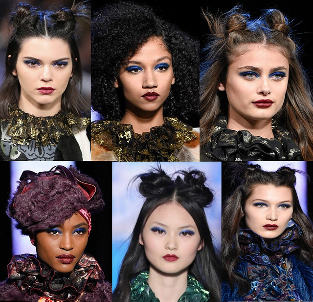 Make up trend, new make up trend, Burgundy lipstick, blue eye shadow, Latest make up trend, bright blue eye shadow, cobalt blue eye shadow, dark cherry lipstick, Pat McGrath, make-up artist Pat McGrath, blue eyelids, Anna Sui's fashion show, Anna Sui's sh
