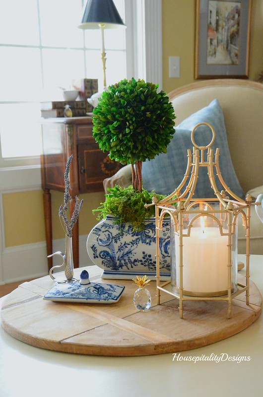 Brighton Pagoda Candle Holder-Blue and White-Boxwood Topiary-Housepitality Designs
