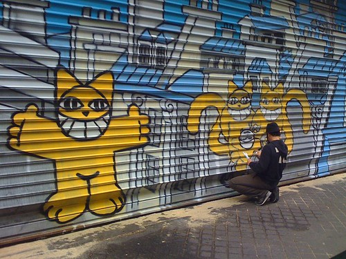 Monsieur Chat at work. From Paris: the Capital of Street Art and Graffiti
