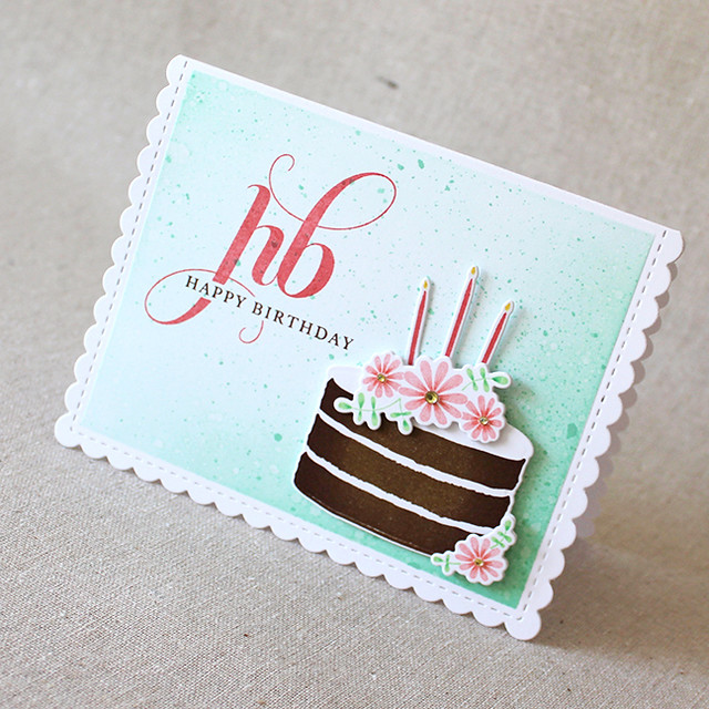 Happy Birthday Cake Card Angled