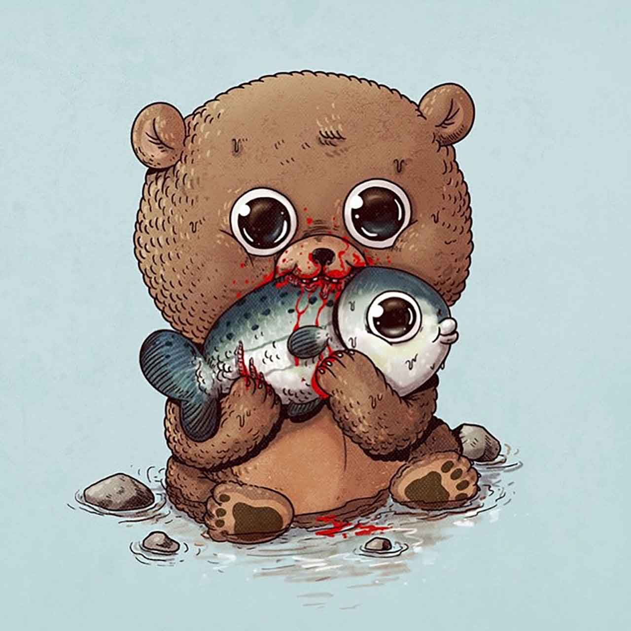"Artist Creates Extremely Adorable ""Predator & Prey"" Illustrations #5: Bear & Salmon"