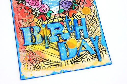Meihsia Liu Simply Paper Crafts Mixed Media Tag Birthday Rabbit Simon Says Stamp Tim Holtz 5