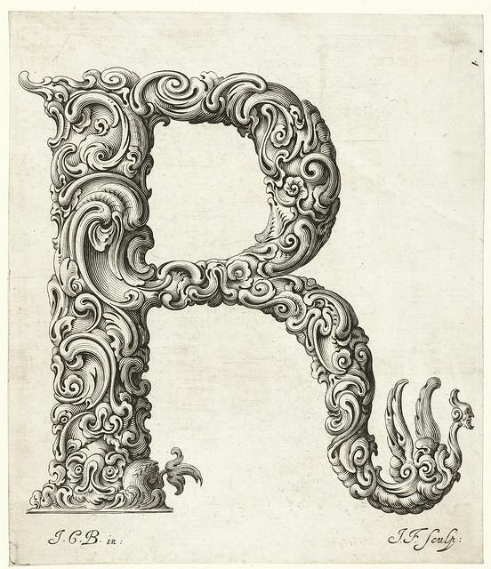018- Letra R-Libellus Novus Elementorum Latinorum -J. C. Bierpfaff-  Rijksmuseum